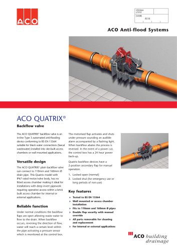 QUATRIX Anti-flood Backflow Protection System