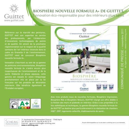 Biosphère nouvelle formule A+ - Novembre 2011