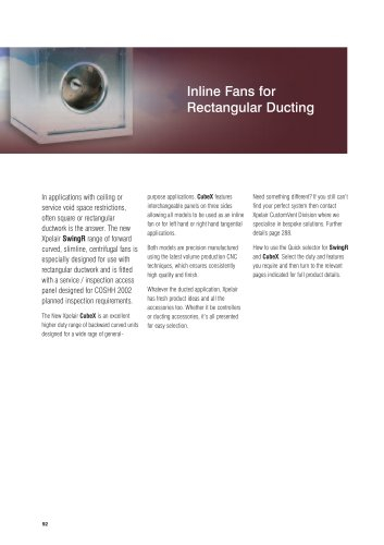 Xpelair Inline Fans for Rectangular Ducting