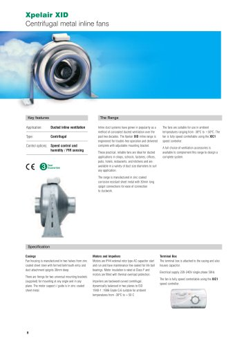Xpelair XID Centrifugal metal inline fans