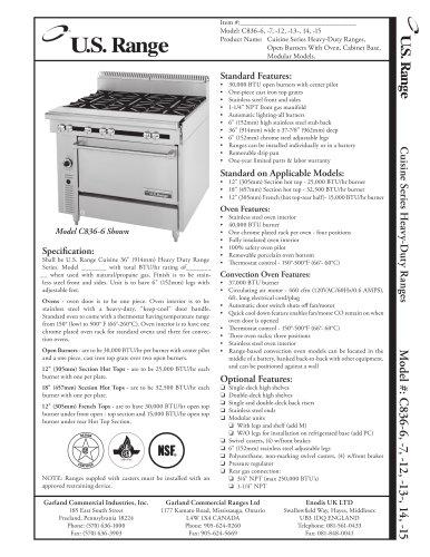 Cuisine Series Open Burner Ranges, C836-6