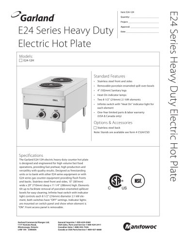 E24 Series - Electric Hot Plate