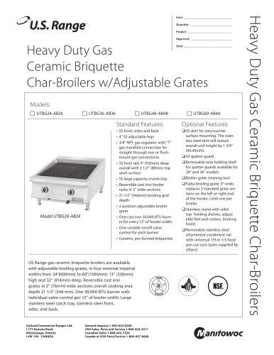Heavy Duty Gas Ceramic Briquette Char-Broilers w/Adjustable Grates
