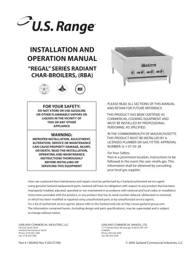 Installation/Operation Manual: All RBA Series Gas Char Broilers, part #1382692