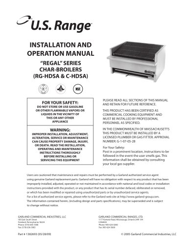 Installation/Operation Manual: All RG-HDSA & C-HDSA Series Gas Char Broilers, part #1382693