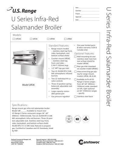 U Series Infra-Red Salamander Broiler
