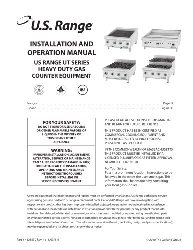 UT Series Heavy Duty Gas Counter Equipment